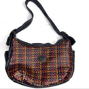 Vera Pelle Purse Made in Italy Crosshatch Leather